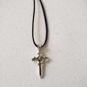 Jewelry - Silver tone Cross with Cord